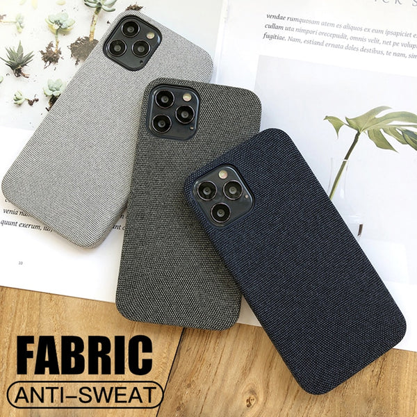 Luxury Fabrics Cotton Linen Cloth Case For iPhone 12 11 Series