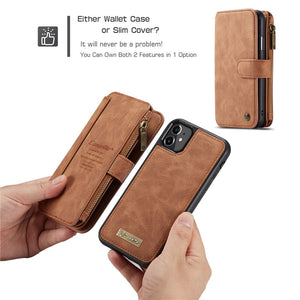 Luxury Retro Folded Leather Wallet Case For iPhone 12 Pro Max | iPhone 12 Pro | iPhone 12 Mini | iPhone 12