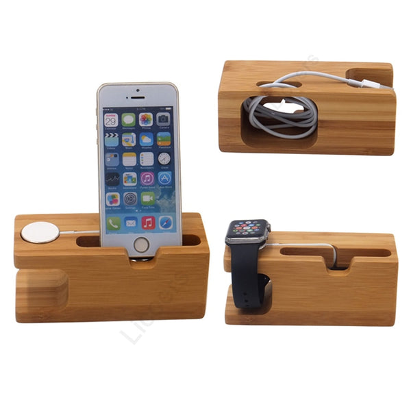 Bamboo Wooden Charging Station for iPhone 12 Apple Watch iPad