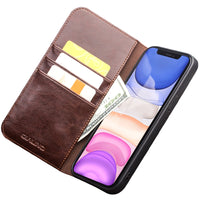 Handmade Genuine Leather Card Slots Wallet Case for iPhone 12 Series