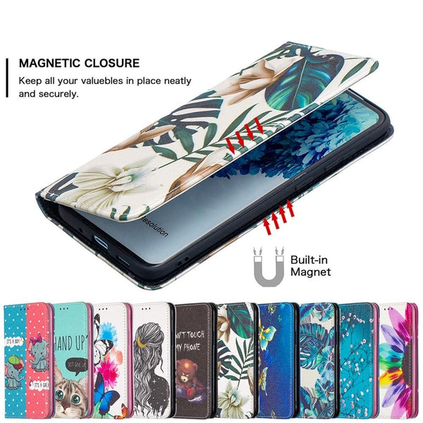 Leather Painted Magnetic Wallet Flip Case For Samsung Galaxy S21 S20 Note 20 Series