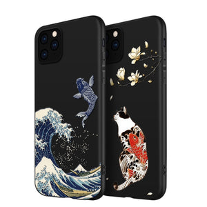 3D Art Case Relief Embossed Carp Cat Matte Soft Back Cover Case For iPhone 11 Series