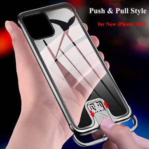 Rimless Metal Bumper Transparent Tempered Glass Case for iPhone 11 Pro Max XS XR XS Max