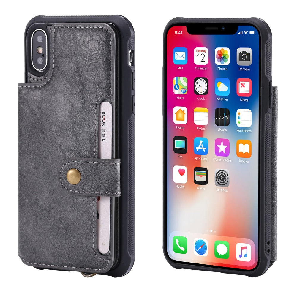 04360e0641f1f For iPhone X XR XS Max Flip Leather Wallet Phone Case with Handle ...