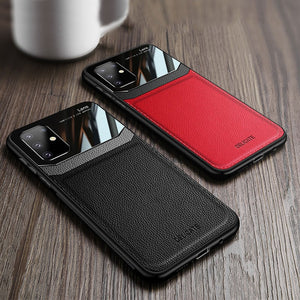 Leather Mirror Shockproof Back Cover Lens Protective Case for Samsung Galaxy S20 S20 Plus S20 Ultra