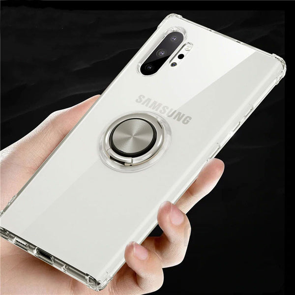 Transparent Ejectable Ring Soft Silicone Airbag Case For Samsung Galaxy Note 10 Plus S10 Plus