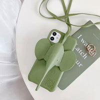 Luxury Elephant Patterned Silicone Phone Case with Rope Necklace for iPhone 11 Series