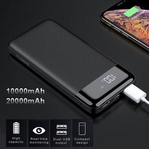 Portable External Power Bank Dual USB Fast Charger 10000mAh & 20000mAh