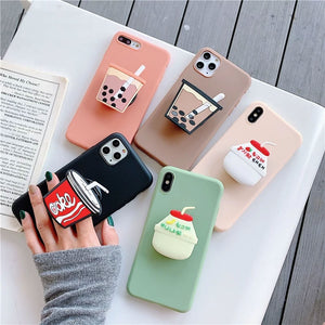 3D Cute Cartoon Drink Bottle Soft Case Holder Cover for iPhone 11 Pro Max  X XR XS Samsung S8 S9 S10