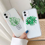 Ultra Thin Soft TPU Clear Green Potted Plants Protective Phone Case For iPhone 11 Series