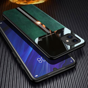 Luxury Mirror Organic Plexiglass Leather Full Protection Case For iPhone 11 Series