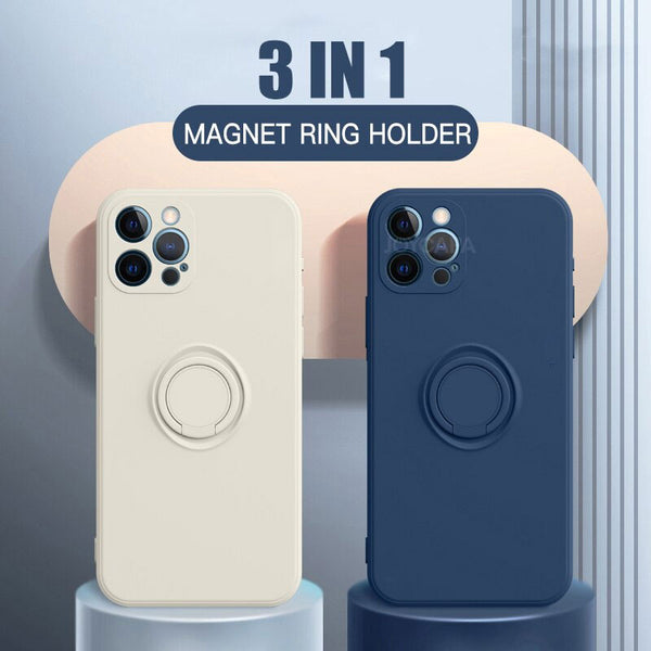3 in 1 Magnetic Stand Liquid Silicone Finger Ring Holder Strap Case For iPhone 12 11 Series