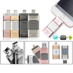 Portable USB 3 in 1 iFlash Drive for iPhone, iPad & Android