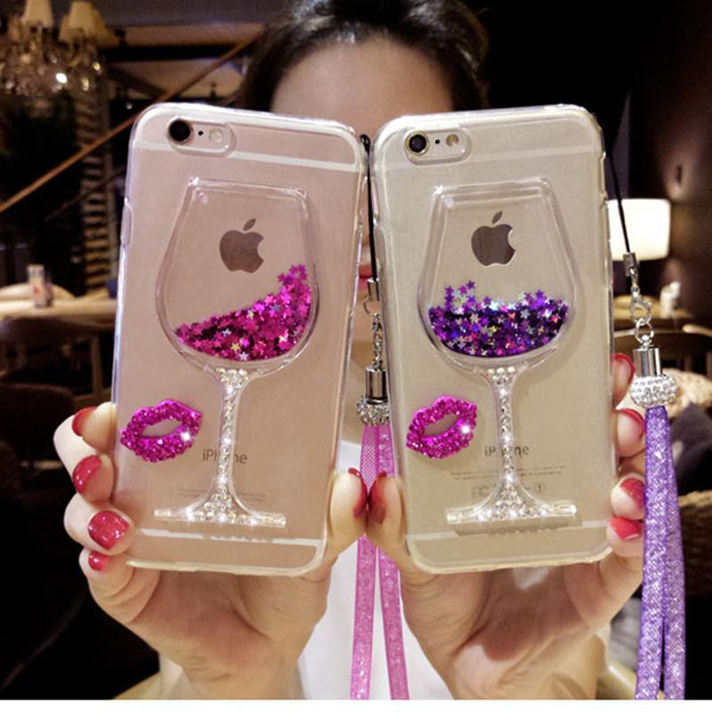sports shoes 00535 0b9de iPhone 6 7 8 X Case 3D Liquid Quicksand Bling Rhinestone Wine Glass Pattern