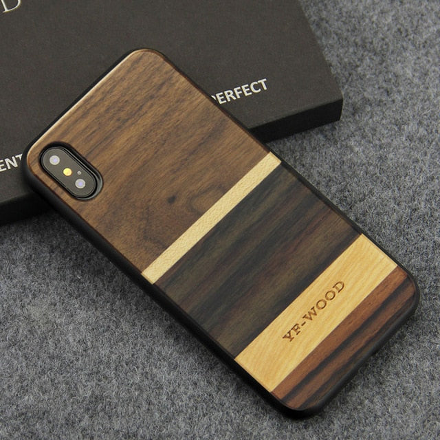 huge selection of 8e0cd cb375 Shockproof Funda Natural Wooden Phone Case for iPhone X XS XR XS Max