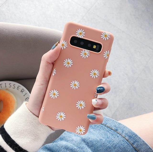 Daisy Flower Candy Color Soft TPU Silicone Case For Samsung Galaxy S20 S10 Series