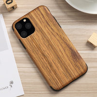 Slim Wood Grain Silicon Glitter Bumper Cover Wooden Case for iPhone 12 Series