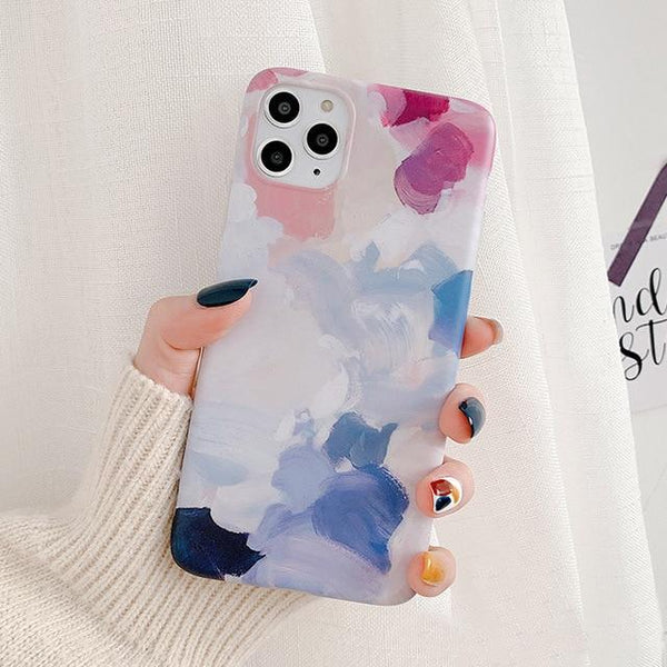 Luxury Fashion Watercolor Oil painting High Quality Soft IMD Case for iphone 11 Series