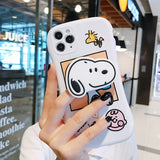 Arc Dog Cute Charlie Brown Ring Kick Stand Soft Silicone Cartoon Case For iPhone 12 Series