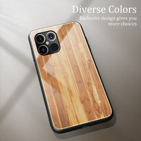 Luxury Wood Grain Slim Tempered Glass Case For iPhone 12 Series