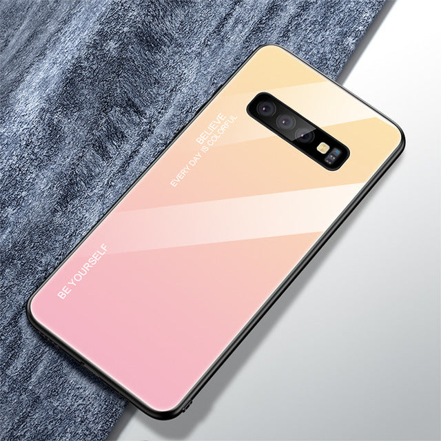 Luxury Gradient Tempered Glass Case For Samsung Galaxy S10 S10 Plus S10e