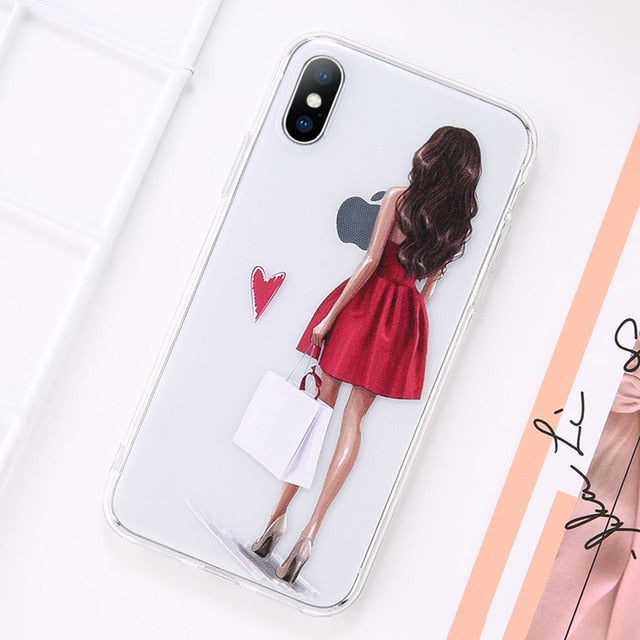 Beautiful Girl Pattern Case For iPhone X XS XR MAX 8 Plus
