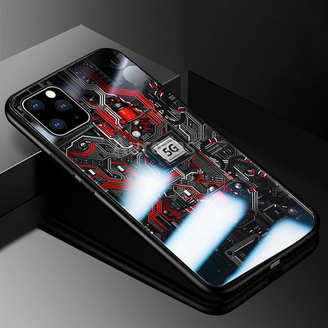 Explorer Painted Tempered Glass Protective Cover Case for iPhone 11 Pro Max