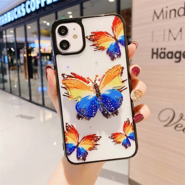 Beautiful 3D Butterfly Bracket Luxury Glitter Soft Silicon Phone Case For IPhone 11 / 11 Pro/ 11 Pro Max