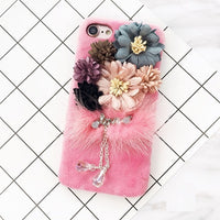 Luxury Bling Diamond Flower Plush Mink Furry Cases For iPhone 11 Series