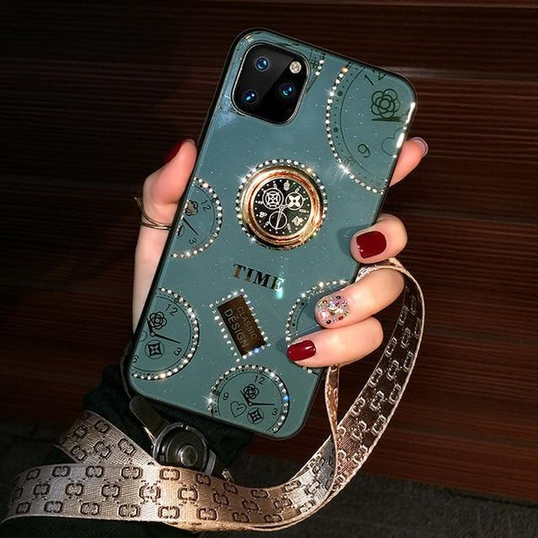 Shell Fashionable Women's Dark Green Clock Ring Net Red Diamond Case For Iphone11 Series
