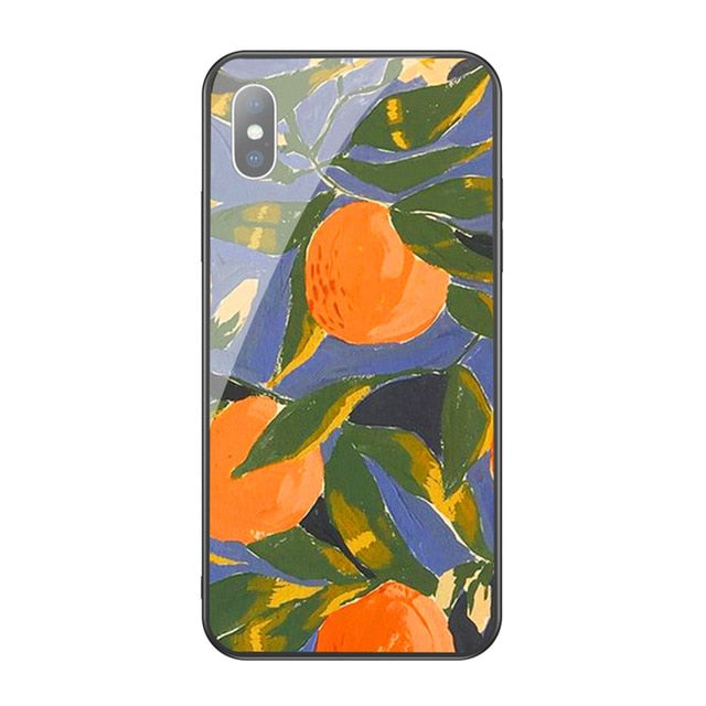 Retro Oil Painting Flower Leaf Case For iphone XS Max XR X 6 6S 7 8 Plus