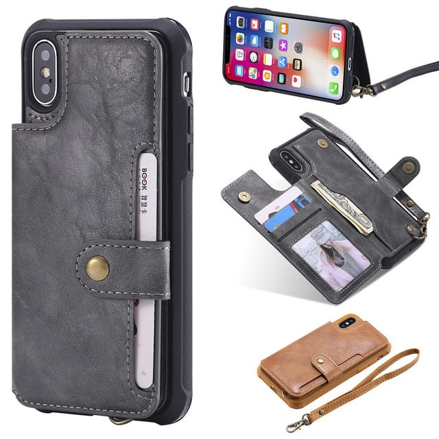 sports shoes 3e6a4 65df5 For iPhone X XR XS Max Flip Leather Wallet Phone Case with Handle