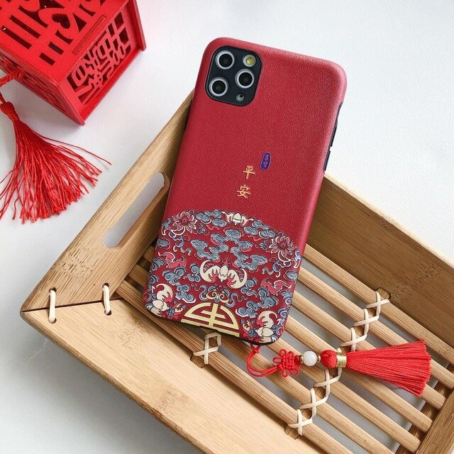 Cute Chinese Style Court Wind Embossed Tassel Phone Case for iPhone 11 Pro XS Max XR X
