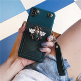 Leather Embossed Jewelled Diagonal Hanging Case for iPhone 12 11 Series