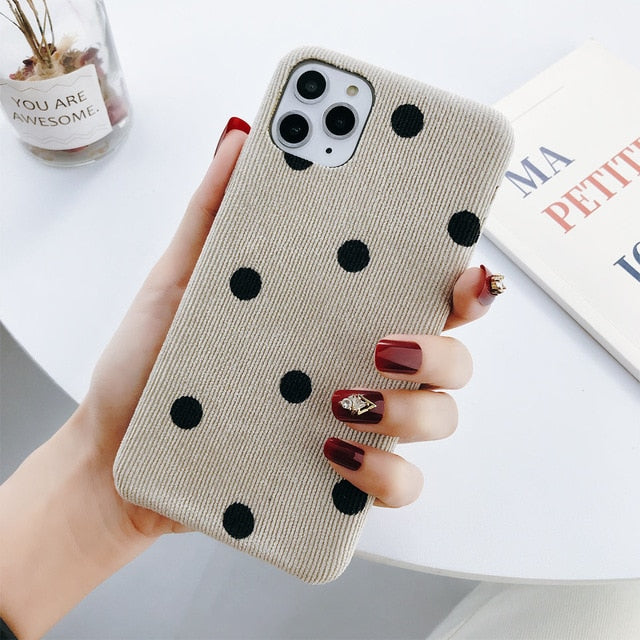 Cloth Texture Love Heart Wave Point Soft Warm PU Case For iPhone 11 Pro Max