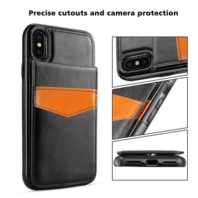 For iPhone XS Max XR X 8 7 Plus Case Leather Wallet Magnetic Flip Cover