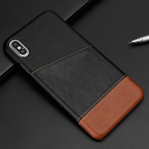Business Style Card Holder Leather Back Cover Case for iPhone X XR XS Max