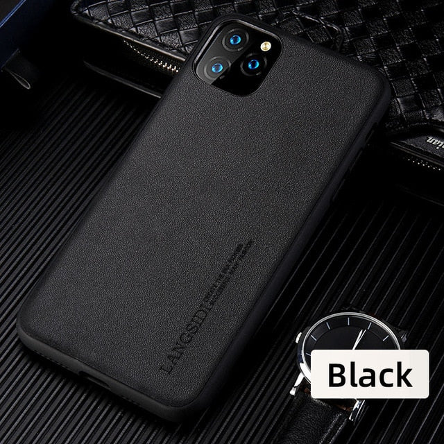 Genuine Leather Plain Business Phone Cases For iPhone 11 Pro Max
