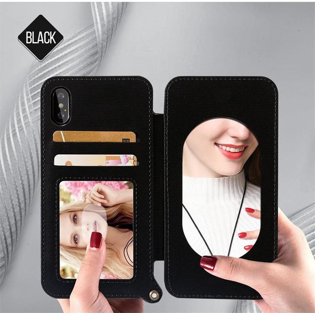 Make-up Mirror Lanyard Leather Wallet Case For iPhone X 8 7 6