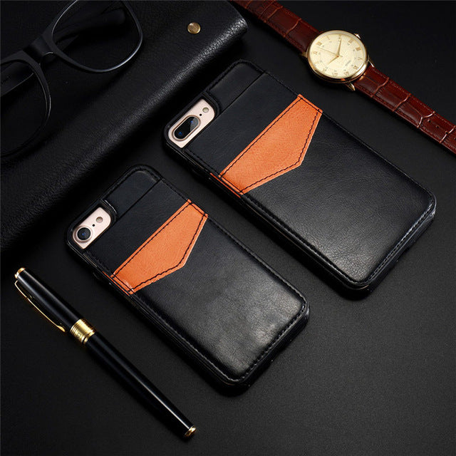 Flip Card Holder Leather Case For iPhone 6 6s 7 8 X Plus