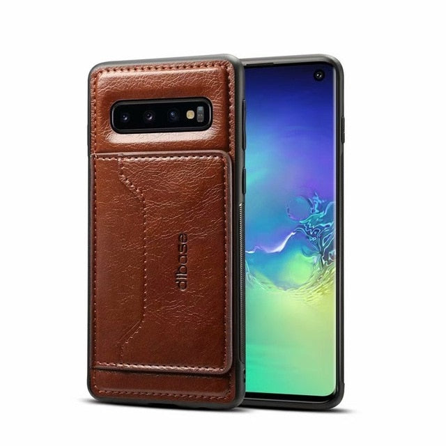 Leather Card Slot Cover For Samsung Galaxy S10 S10 Plus S10e S9 Plus Note 9 8