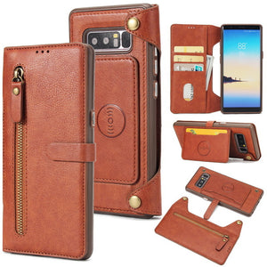 Zipper Leather Wallet Case For Samsung Galaxy Note 8