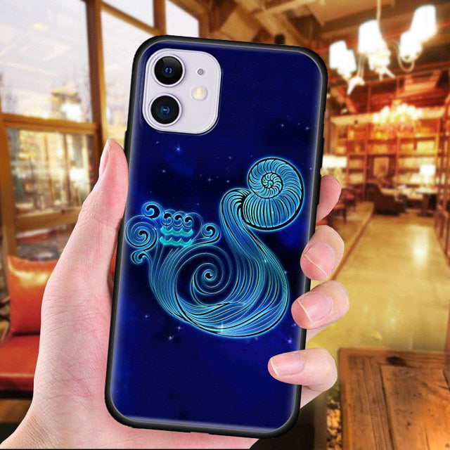 Constellation Zodiac Signs Cartoon Silicone Marble Phone Case for iPhone 11 & 12 Series