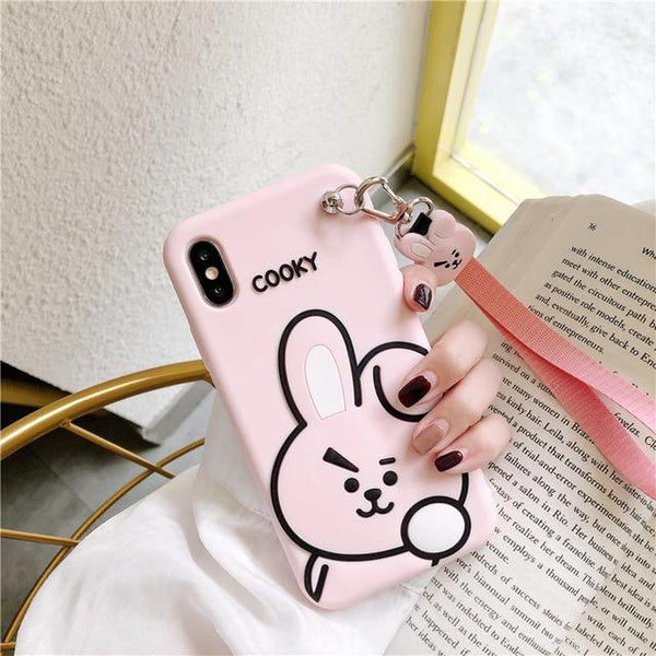Luxury Cute Cartoon Soft Silicone Wriststrap Case for iPhone 11 & iPhone X Series