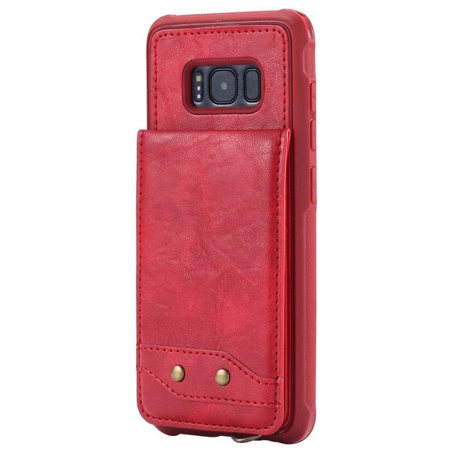 Luxury Vertical Flip Card Holder Case For Galaxy S9 S8 Plus