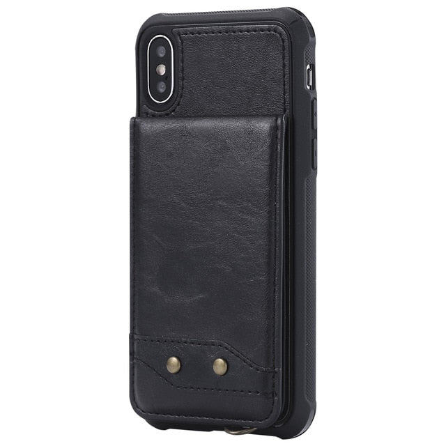 Vertical Leather Flip Wallet Case For iPhone X 6 6s 7 8 Plus