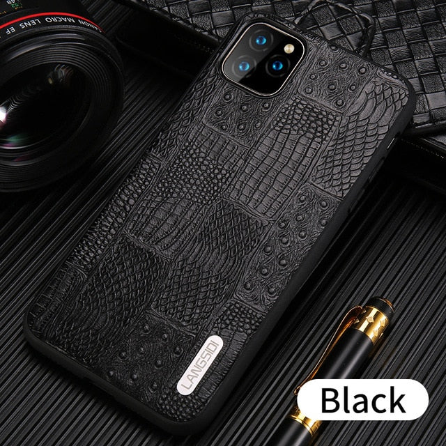 Genuine Leather Retro Splice 100% Handmade Process Case For Apple iPhone 11 Series