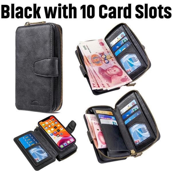 Detachable Magnetic Zipper Wallet Leather Case For iPhone 11 Series
