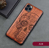All-inclusive Emboss Solid Wood Carving Protective Cover Wooden Case For iPhone 12 Series