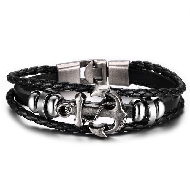 Vnox Vintage Anchor Bracelet Black Genuine Braided Leather Charm Bracelets Men Jewelry Party Gift Multi Layer Male Pulseira